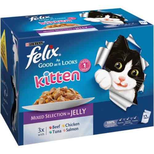 Felix As Good As It Looks Kitten Food Mixed Selection in Jelly